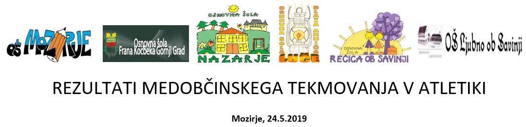 REZULTATI MEDOBČINSKEGA TEKMOVANJA V ATLETIKI Mozirje, 24.5.2019