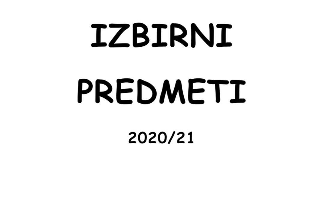 Izbirni predmeti 2020/21
