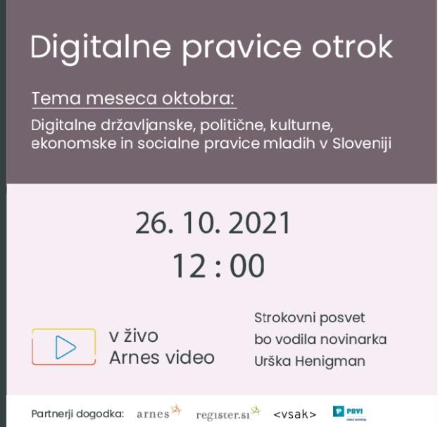 Digitalne pravice otrok – brezplačen posvet za starše in strokovne delavce